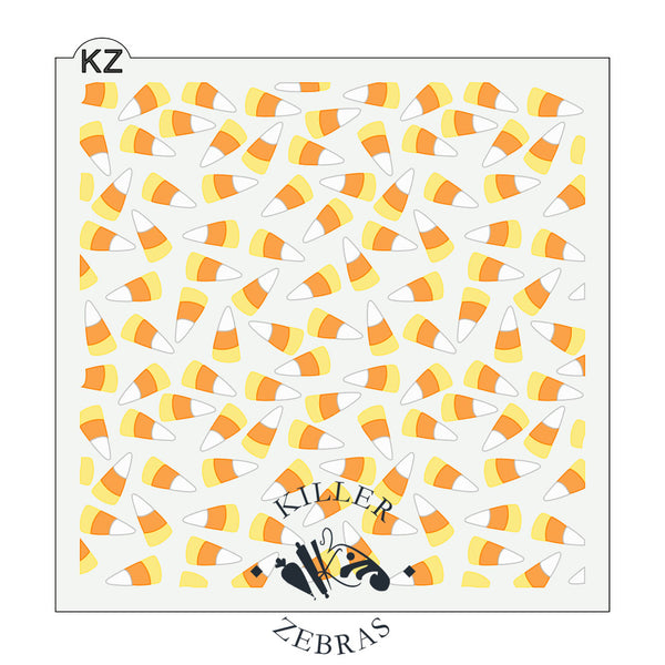 Large, square stencil with candy corn, yellow, white, and orange filling the square.