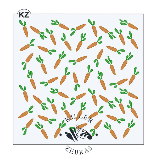 Large, square stencil with orange carrots and green leaves filling the page.