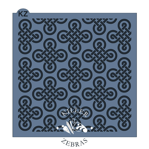 Large, square stencil with Celtic knots.