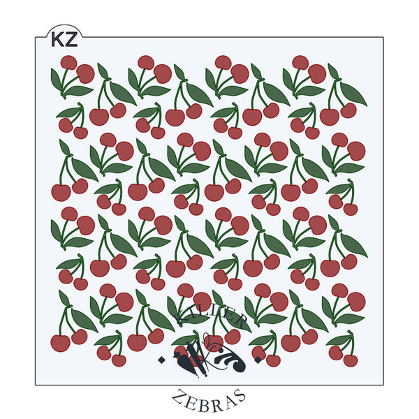 Large, square stencil with red cherries and green stems/leaves filling the page.