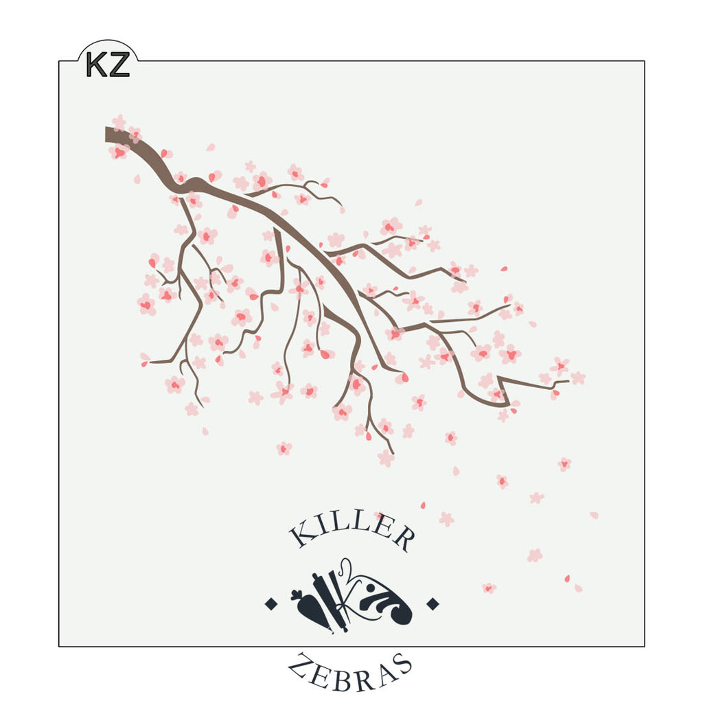 Large, square stencil with one big cherry blossom branch that is brown with pink blossoms.