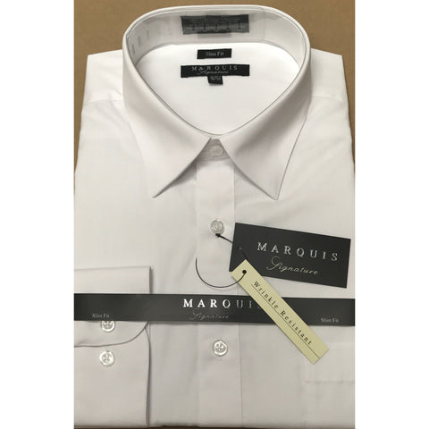 MARQUIS WHITE SLIM FIT SOLID DRESS SHIRT
