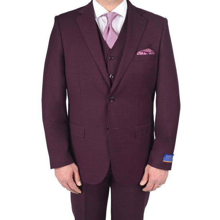 BERRAGAMO BURGUNDY MODERN FIT SUIT