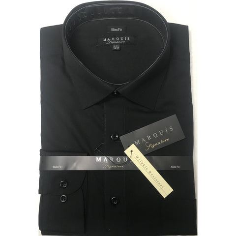 MARQUIS BLACK SLIM FIT SOLID DRESS SHIRT