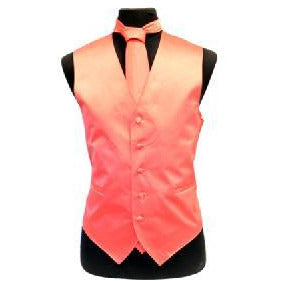 SOLID SLIM FIT VEST SET CORAL