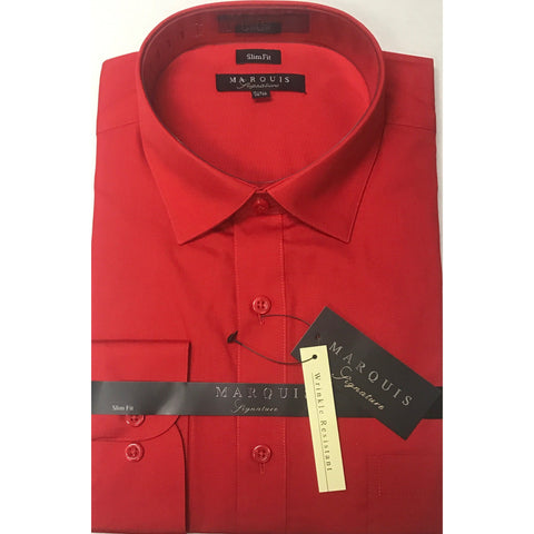 MARQUIS RED SLIM FIT SOLID DRESS SHIRT