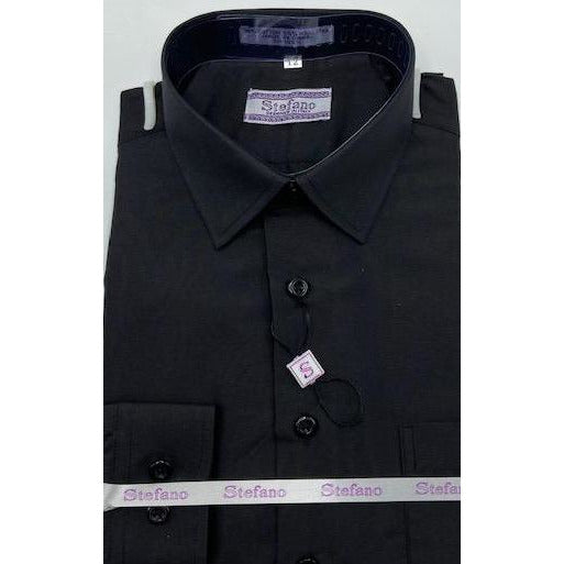 STEFANO BOYS DRESS SHIRT BLACK 4-7