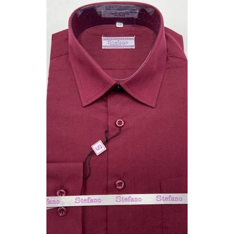 STEFANO BOYS DRESS SHIRT 8-20 BURGUNDY