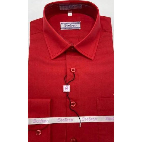 STEFANO BOYS DRESS SHIRT 8-20 RED