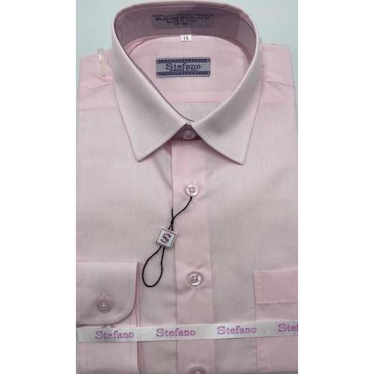 STEFANO BOYS DRESS SHIRT 4-7 PINK
