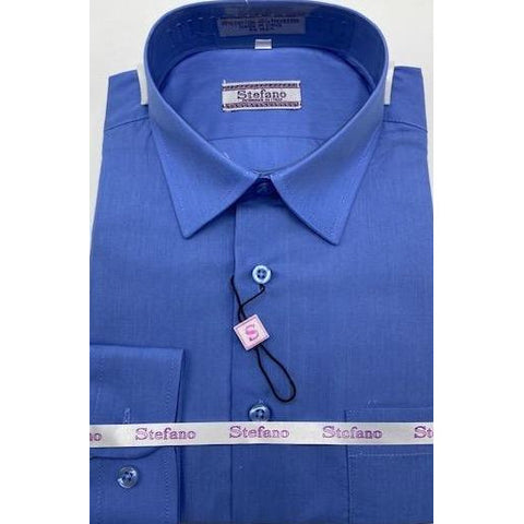 STEFANO BOYS DRESS SHIRT 8-20 BLUE
