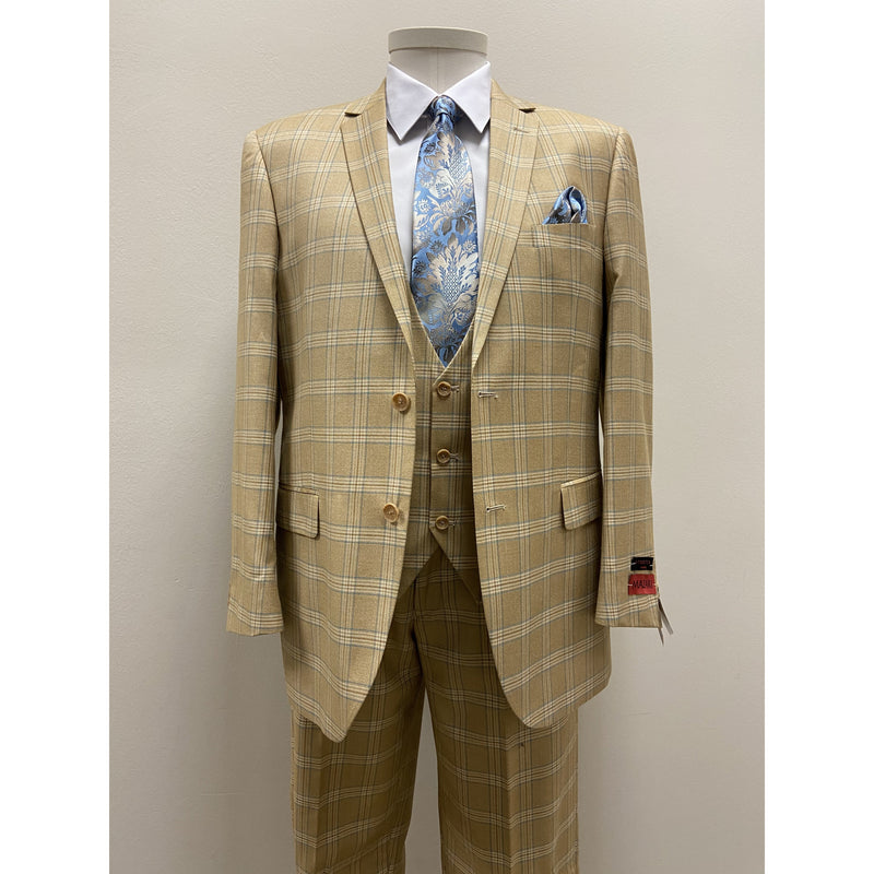 MAZZARI BOLD PLAID SUIT TAN - BUY ONE SUIT, GET ONE FREE