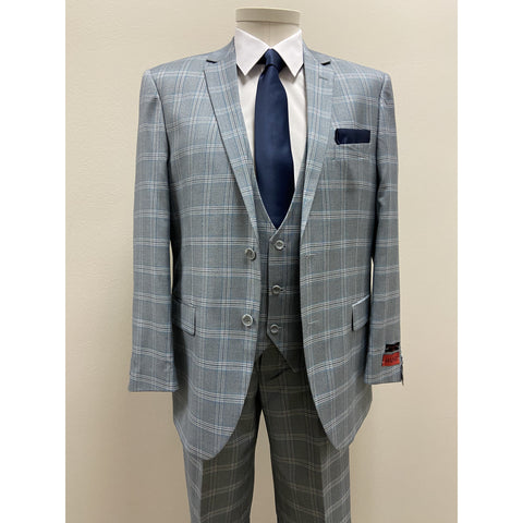 MAZZARI BOLD PLAID SUIT GREY - BUY ONE SUIT, GET ONE FREE