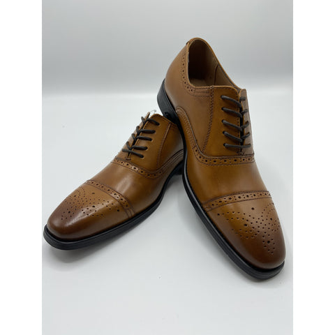 CAP TOE OXFORD DRESS SHOE COGNAC
