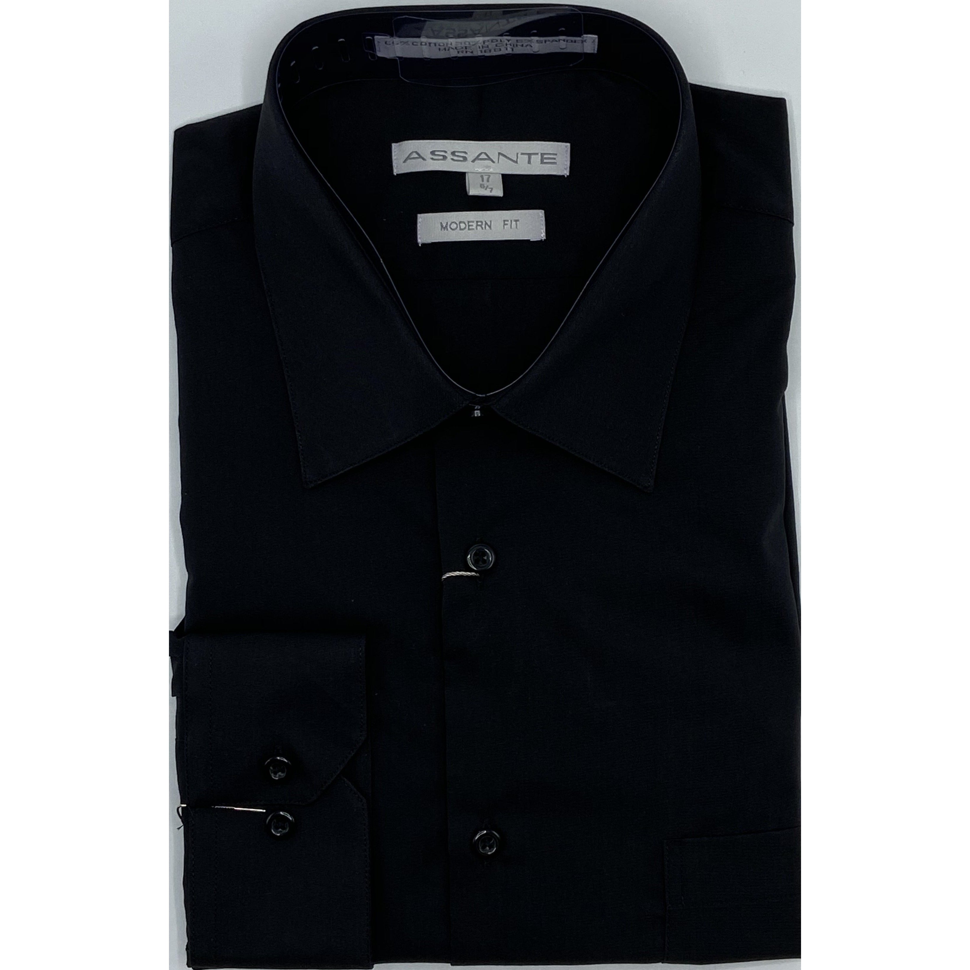 ASSANTE MODERN FIT DRESS SHIRT BLACK