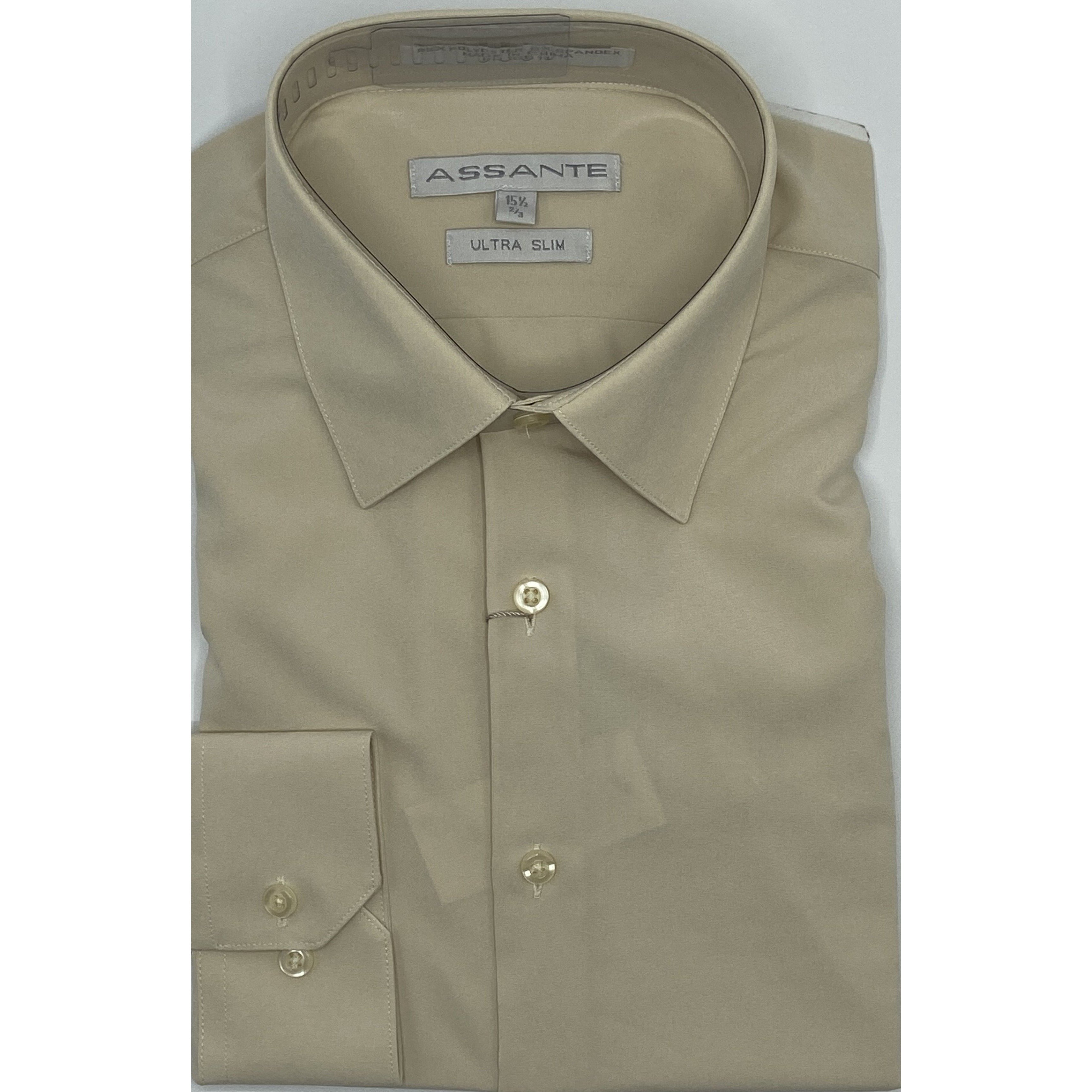 ASSANTE ULTRA SLIM DRESS SHIRT ECRU