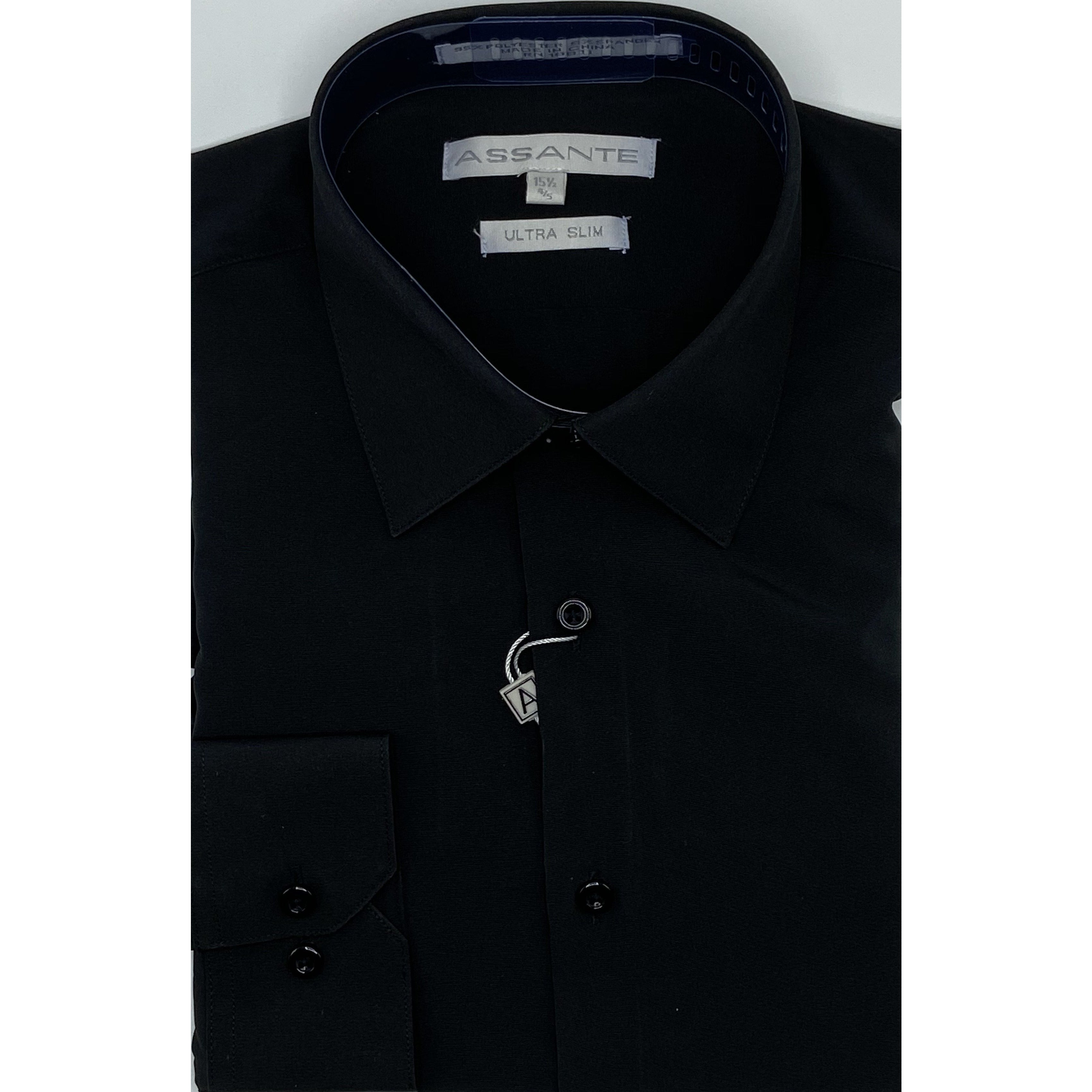 ASSANTE ULTRA SLIM DRESS SHIRT BLACK