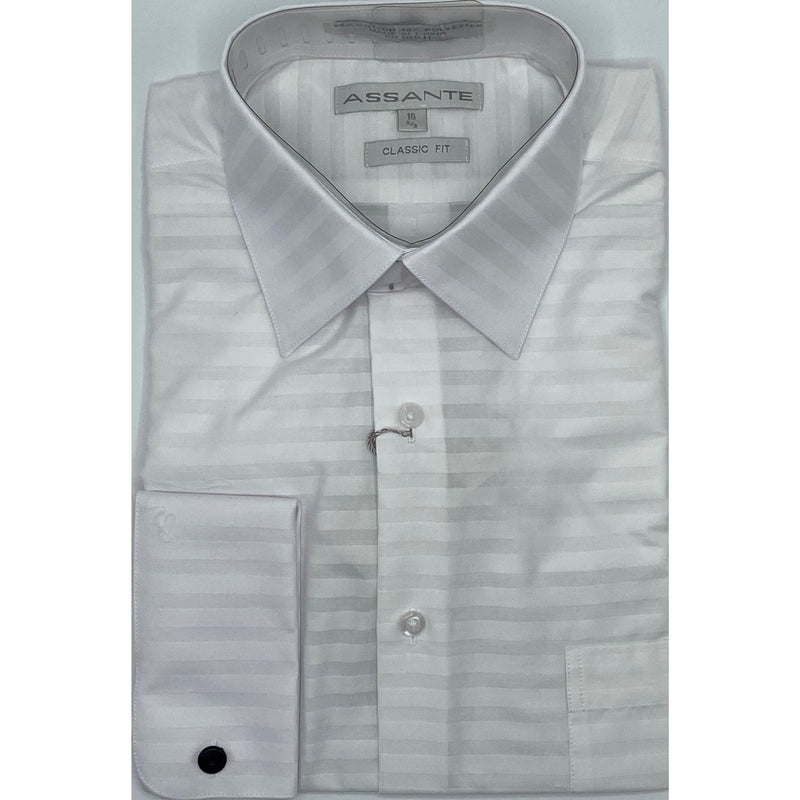 ASSANTE HORISONTAL TONE ON TONE DRESS SHIRT WHITE