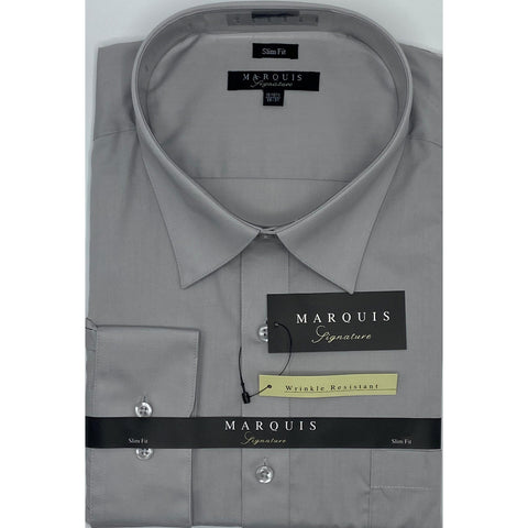 MARQUIS SILVER SLIM FIT SOLID DRESS SHIRT