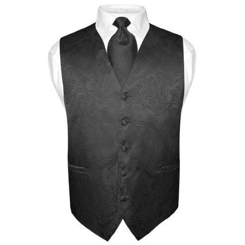 LUXURIOUS BLACK PAISLEY VEST SET