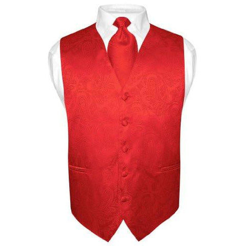 VEST SET RED PAISLEY