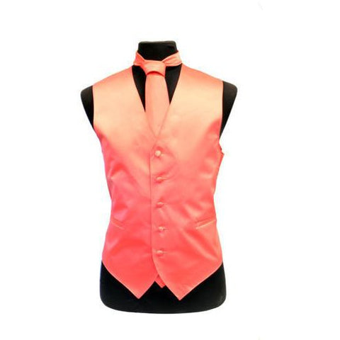 LUXURIOUS CORAL SATIN VEST SET