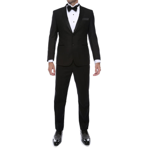 BOLZANO BLACK SLIM FIT NOTCH LAPEL TUXEDO