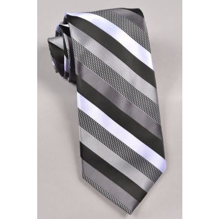 Stacy Adams Striped Tie & Pocket Square-  Black/ Gray/ Silver