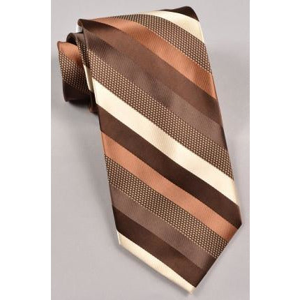 Stacy Adams Striped Tie & Pocket Square-  Brown/ Cream