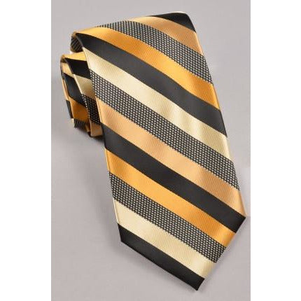 Stacy Adams Striped Tie & Pocket Square-  Gold/ Black/ Cream