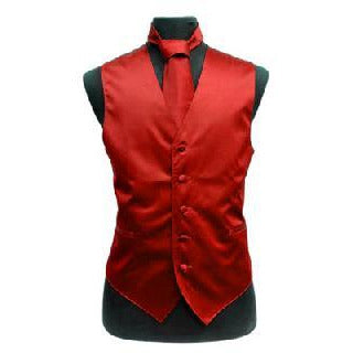 SOLID SLIM FIT VEST SET RED