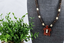 Load image into Gallery viewer, Wood Bead Turtle Necklace