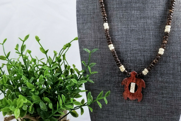 Wood Bead Turtle Necklace