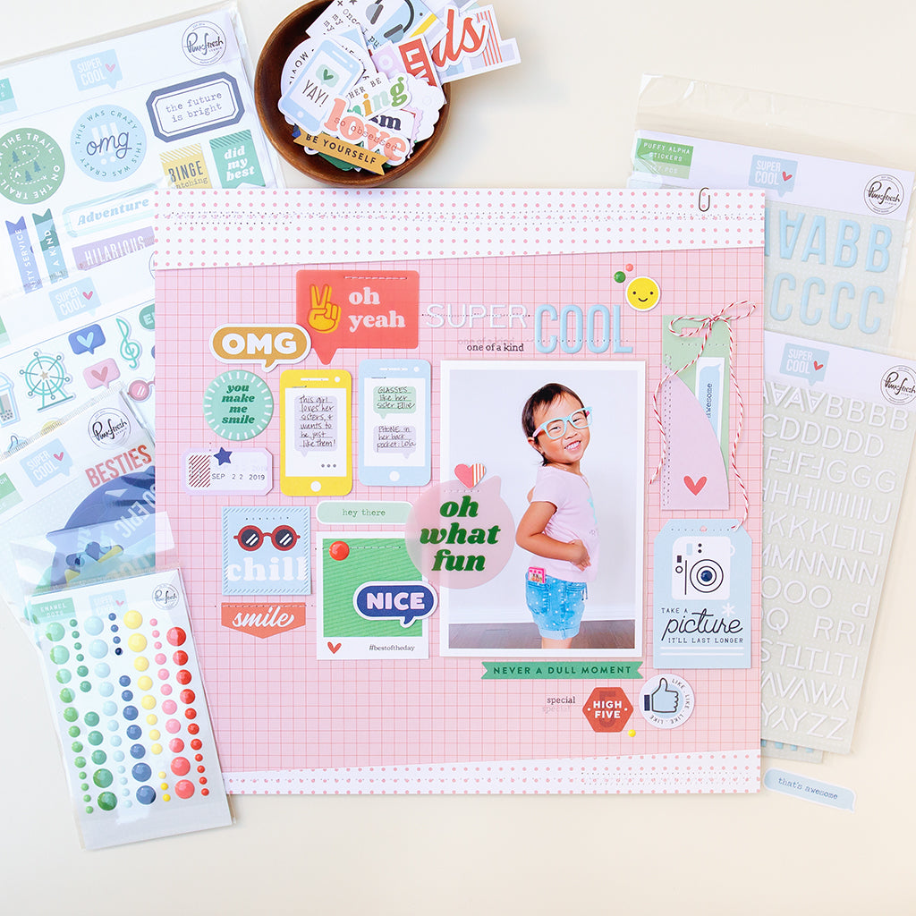 Super Cool scrapbook layout featuring the new Super Cool collection