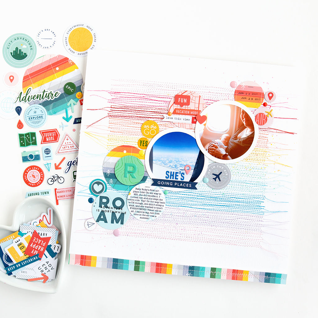 Inspired by Rainbow Stripes, 2 layouts featuring Out And About