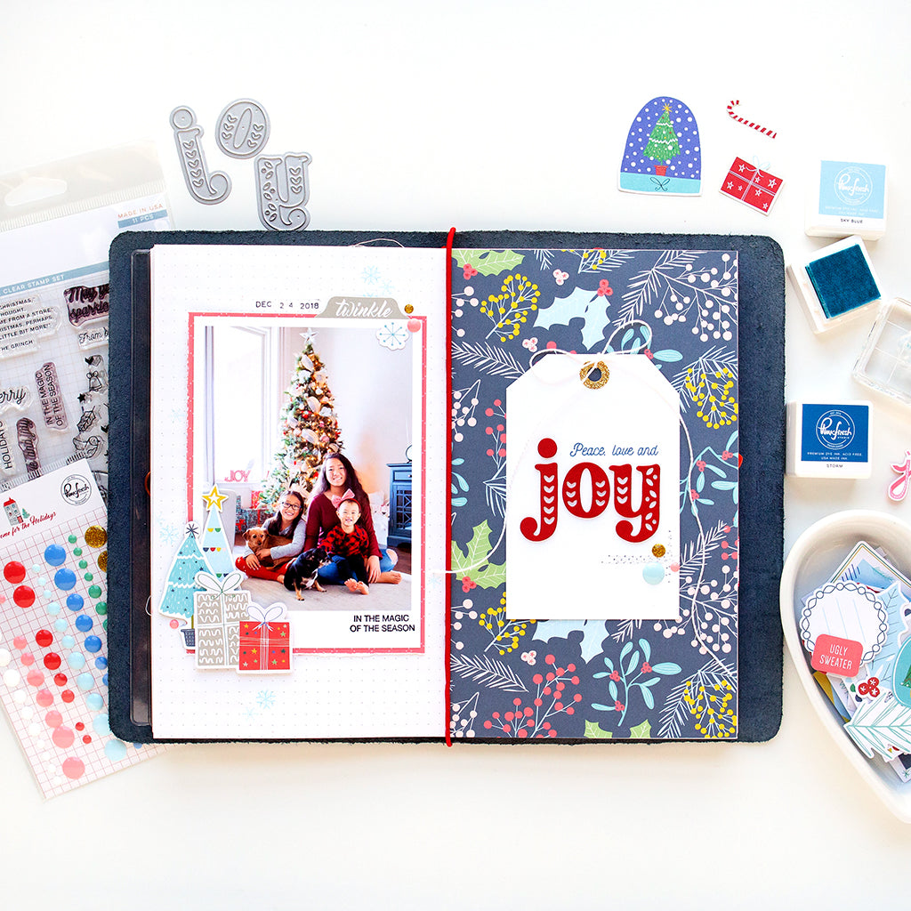 A layout and a TN spread, featuring the Home for the Holidays collection