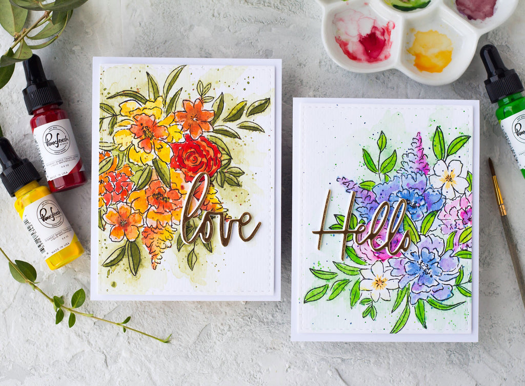 Watercolor Cards with Floral Cluster | Kristina Pokazanieva