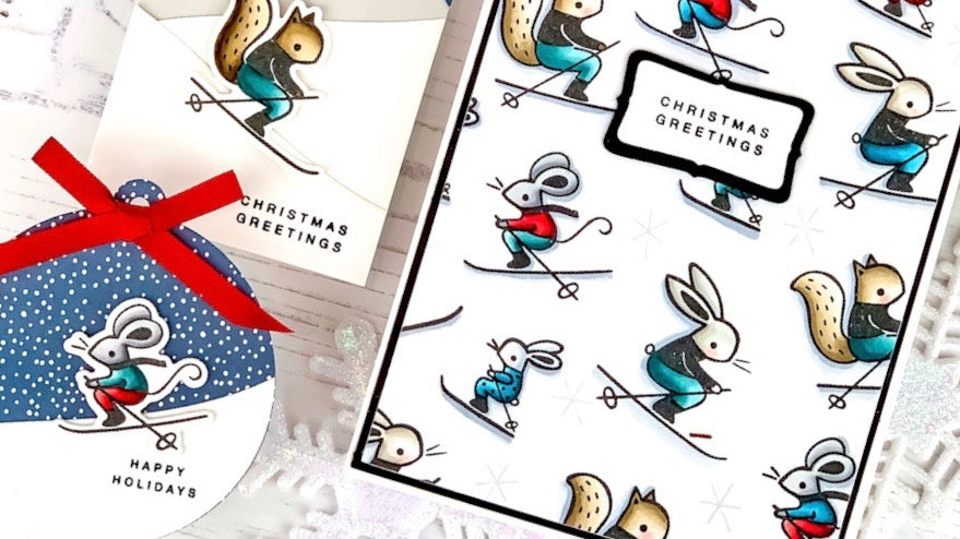 Skiing By Christmas Greetings Card & Tags | Angelica Conrad