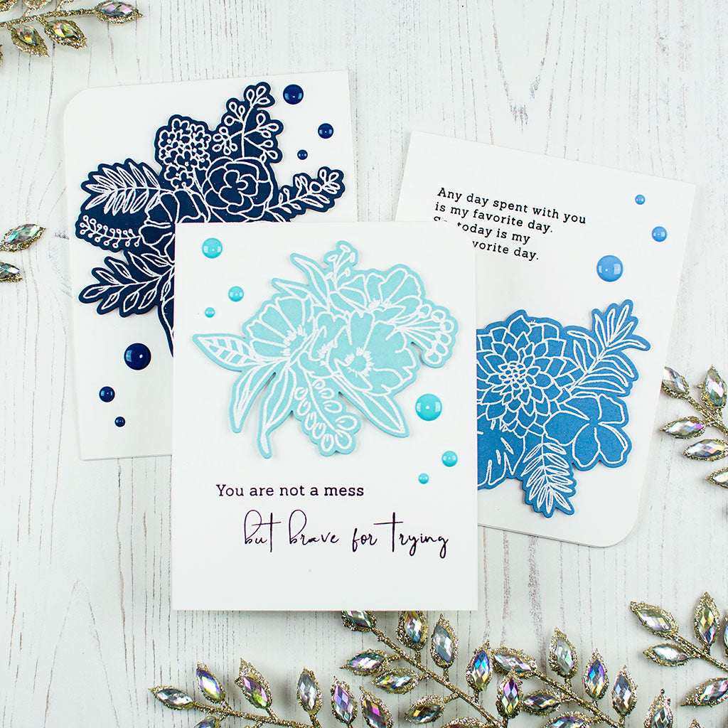 Blue Floral Encouragement Card Trio