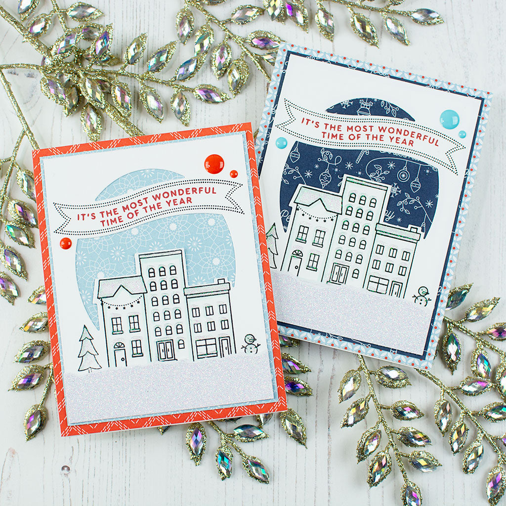 holiday vibes christmas city cards