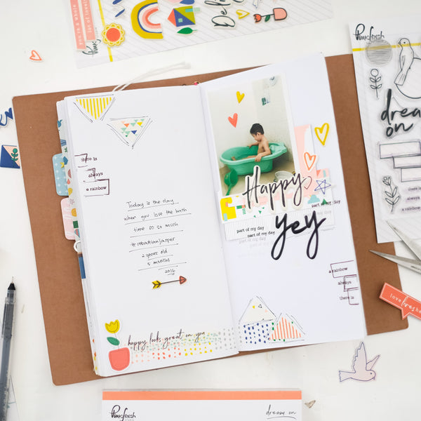 One Layout and Travel Notebook Spread - Dream On Collection With Evelyn Yusuf