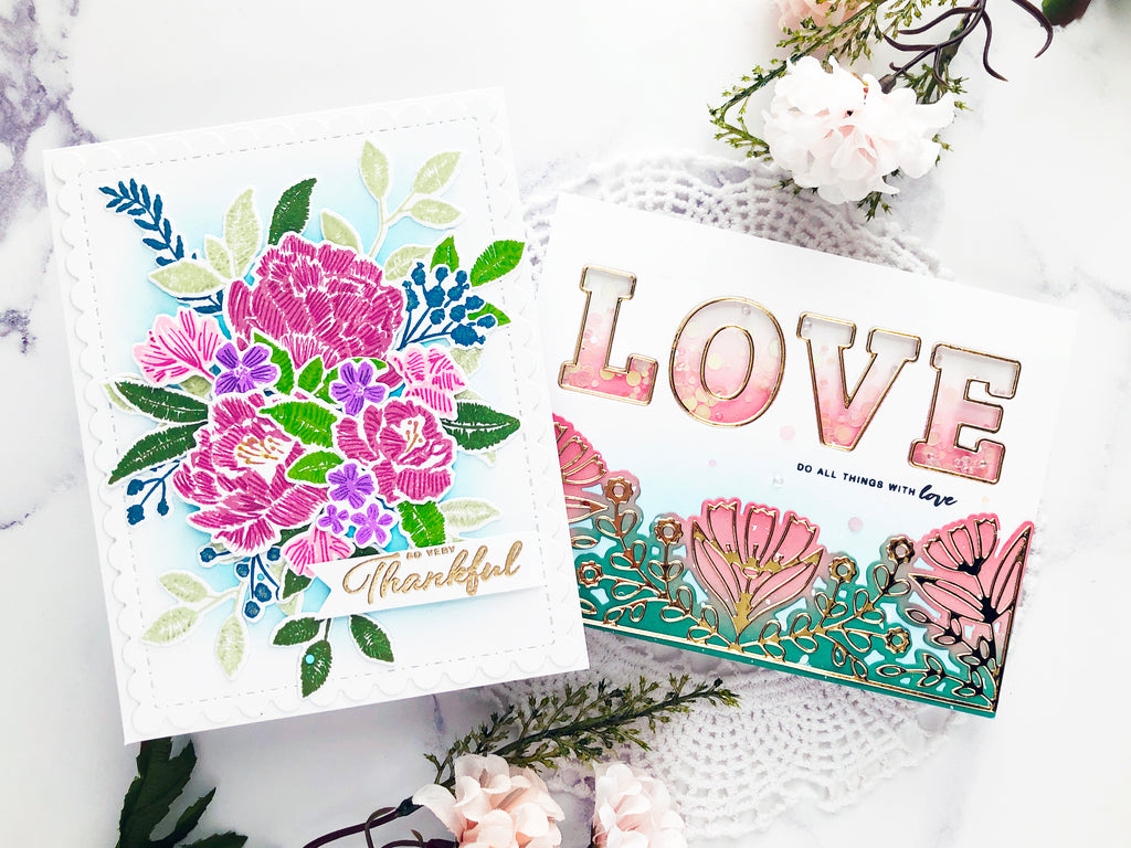 Embroidered Blooms and Adore Alpha Shaker Card | Caly Person