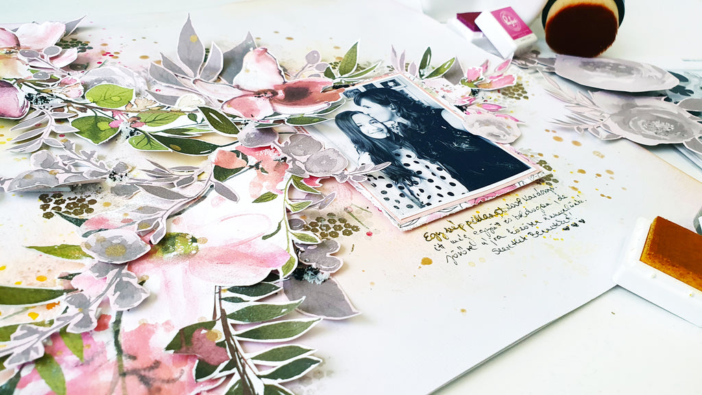 Mixed-media, fussy cutting and layering with Anett (Celebrate collection)