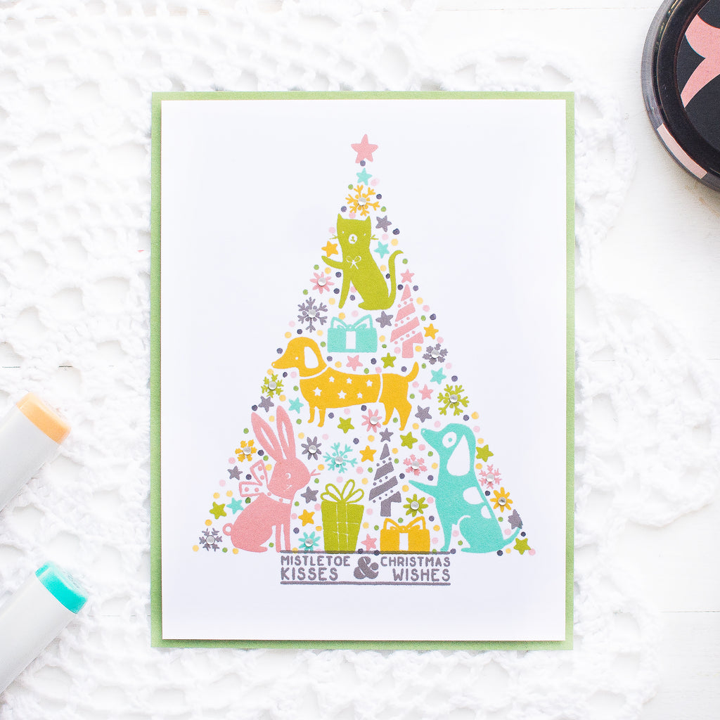 Christmas Tree Card using Shaped Background Stamping with May Park