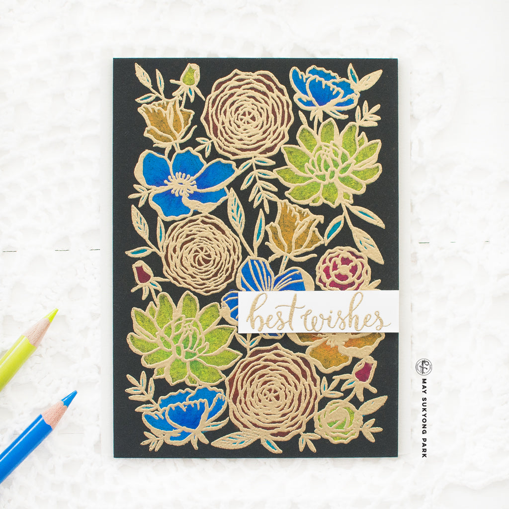 Floral Background Card w/ Gold Heat Embossing & Colored Pencil Coloring