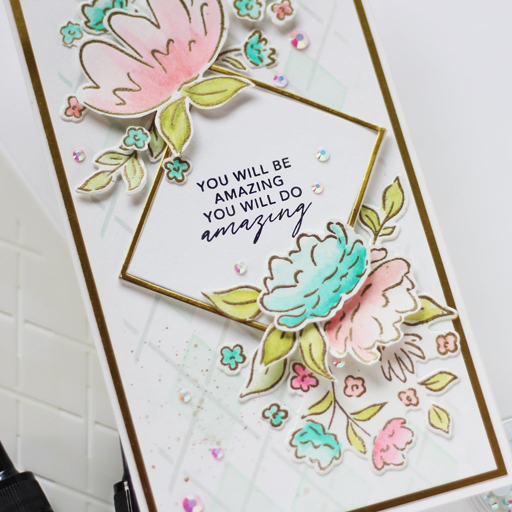 Watercolor Floral Slimline Cards | Hussena Calcuttawala