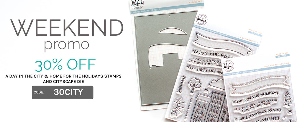 Weekend Promo: 30% off Cityscape die and coordinating stamp sets