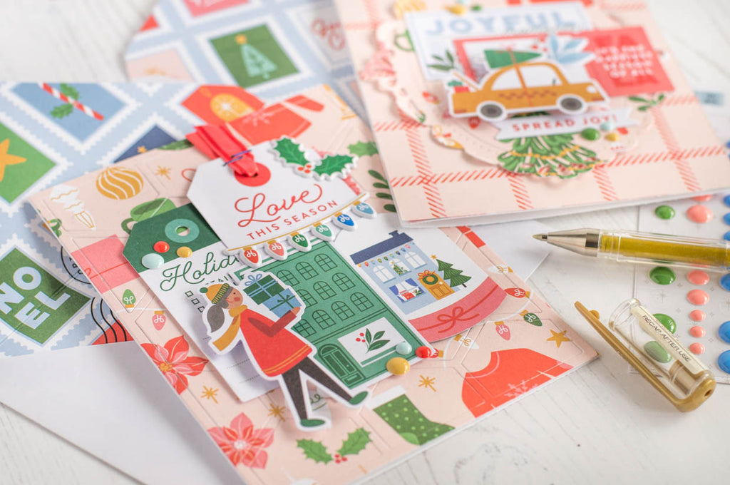 Christmas Cards with Scrapbooking Technique I Flora Farkas
