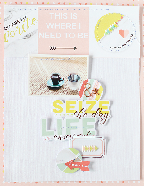 A Scrapbook Layout and A Traveler's Note Layout with Live More