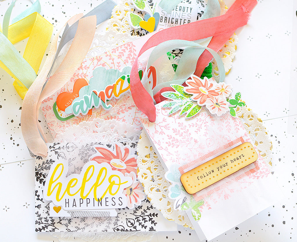 Stamped / Embellished Hybrid Tags + Striped Card | Rebecca Luminarias